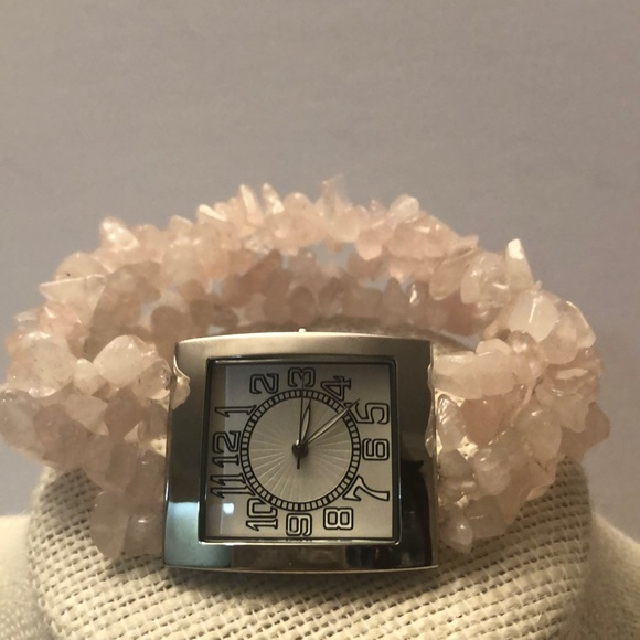 Rose quartz stone watch